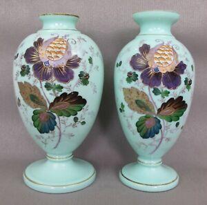2 large antique hand painted opaque opaline milk glass VASES. Mint green. 27 cm