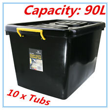 10 x Heavy Duty BLACK Plastic Storage Tubs 90L Crate Containers Boxes Tub Bin FT