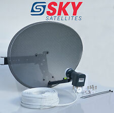 Sky Freesat Satellite Dish & Octo Lnb + Complete 40M White Twin Coax Cable Kit