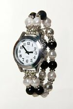 Ladies Talking Wrist Watch Silver Tone with Deluxe Pearl Beaded Band