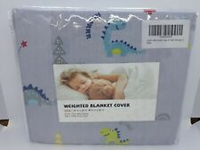 "New Love's Cabin Weighted Blanket Cover Twin 41"" x 60"" Light Gray w/ Dinosaurs"