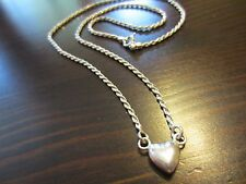 """925 Italy Sterling Silver Signed Rope Chain/Necklace Heart Pendant 18""""=6g"""