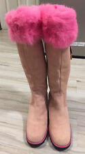 Marzetti Tall Leather Suede Shearling Boots 36 US 6 Pink Side Zip Winter