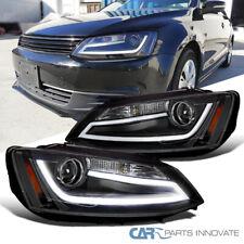Fit 11-18 Vw Jetta Preto Led Drl Strip Bar Projector Headlights HEAD Lamps Par