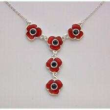 """Designer Poppy Necklace  5 poppies 18"""" chain"""