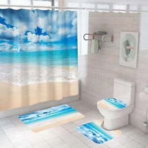 Big Blue Shower Curtain Set Thick Bath Rugs Bath Mat Non-Slip Toilet Lid Cover