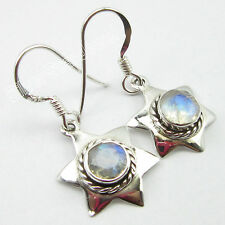 Wholesale Silver Lots India, 925 Pure Silver RAINBOW MOONSTONE Earrings 1.2 Inch