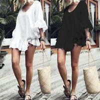 Summer Women Plus Size Ruffle Frill Tunic Top Blouse Shirt Club Beach Mini Dress