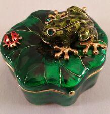 GREEN ENAMELED AND GOLD FROG & LADYBUG TRINKET BOX