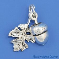 Acorn And Oak Leaf Movable 3D .925 Solid Sterling Silver Charm Pendant USA MADE