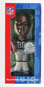 """7"""" NFL Hand Painted Bobble Head Doll Jerry Rice #80 Oakland Raiders Football"""