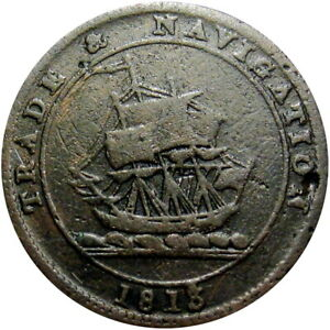 1813 Nova Scotia Canada Half Penny Token Sailing Ship Breton 965