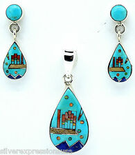 925 Sterling Silver Southwest Multi Stone & Turquoise Inlay Pendant Earrings Set