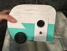 Aqua Blue /white Wood Retro Camper Trailer Birdhouse