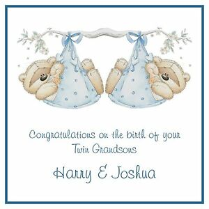Handmade Personalised New Baby Card Twins Twin Boys Sons Grandsons Brothers