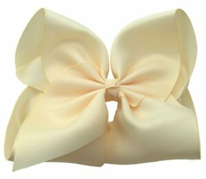 Ladies 2 Pack Large French Barrette Clip Hair Bow 15cm Long Tails Black /& Cream