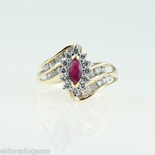 LADY'S 1.25 CT. RUBY & DIAMOND COCKTAIL RING 14K YELLOW GOLD SIZE US7