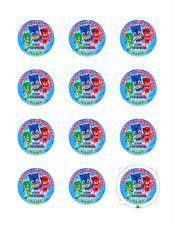 PJ MASKS PERSONALISED CUPCAKE TOPPERS 12 PRE-CUT EDIBLE ICING IMAGES