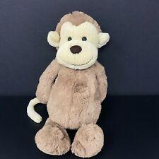 "Jellycat Medium Bashful Brown Monkey Plush Stuffed Animal 12"" Tan Tail Lovey"