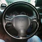 Car Auto DIY Black Genuine Leather Steering Wheel Cover Wrap Sew-on Kit 14.5-15