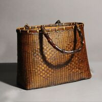 New Women Straw Beach Tote Handbag Round Bohemian Handmade Wicker Rattan Bag