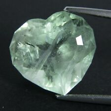 18.48Cts Natural Green Color Unheated Aquamarine (Beryl) Heart Custom Cut VIDEO