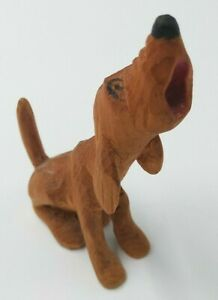 Folk Art Wood Carving Howling Bloodhound - Hound Dog Hunting Painted