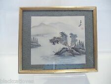 VINTAGE JAPANESE / CHINESE WATERCOLOUR OF MT. FUJI MOUNTAIN SCENE ON SILK SIGNED