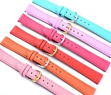 Ladies Colours Genuine Leather Watch Strap Bands Calf Grain Sizes 12mm to 18mms