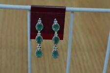 1.99ct Colombian Emerald Teardrop Dangle Earrings Platinum over Sterling Silver