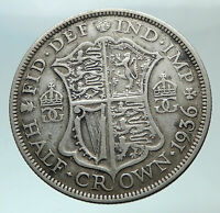 1936 Great Britain United Kingdom UK King GEORGE V Silver Half Crown Coin i82460