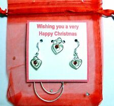 Red Crystal Romantic Heart Necklace/Earrings on Christmas Gift Tag +Organza Bag