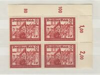Germany 1941 8 + 12 Postal Workers Control Margin Block Of 4 MNH J8706