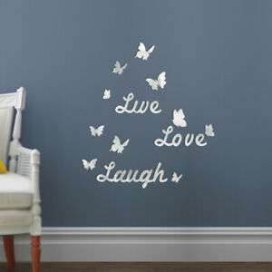 3D Removable Mirror Wall Sticker Love Butterfly Wall Decals DIY Room Decors