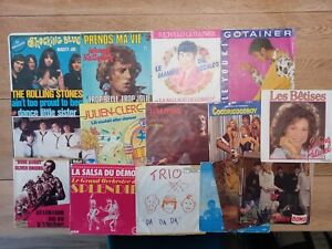 Lot de 15 vinyles 45 tours Johny RollingStones Tom Jones Gotainer Cocoricoboy...