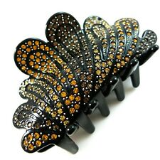 *USA* HAIR CLIP Acrylic Austria Crystal PIN Claw swirl LEAF BLACK BROWN YELLOW