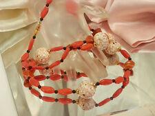 Gorgeous Vintage 1950s Scottish Agate Glass & Orange Art Glass Necklace  189H