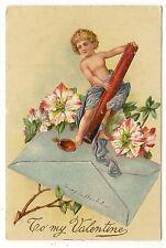 ANTIQUE VALENTINES DAY POSTCARD CHILD WAX SEAL ENVELOPE PINK WHITE FLOWERS 1909