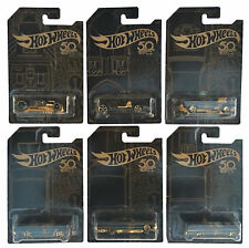 FRN33 HOT WHEELS 50th ANNIVERSARY BLACK AND GOLD SERIES SET OF 6 CARS BRAND NEW