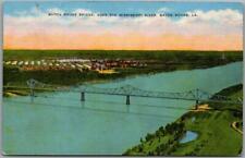 "1940s Baton Rouge, Louisiana Postcard ""Bridge Over the Mississippi River"" Linen"