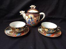 Antique tea set Japanese Meiji Period SATSUMA Pottery . Marked