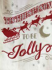 CHRISTMAS FLOUR SACK KITCHEN TOWEL SANTA SLED REINDEER TIS THE SEASON BE JOLLY