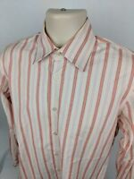 Hugo Boss Men's Orange Striped Long Sleeve Button Up Dress Shirt 15.5 - 34/35