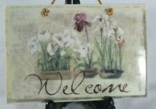 """WELCOME Ceramic PLAQUE Painted Orchids Floral BLUM 6"""" x 9""""  Leather Hanger"""