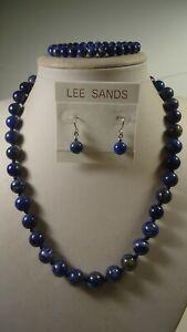Lee Sands Knotted 10mm Lapis Lazuli NK w 8mm Earrings & 6mm Bracelet set