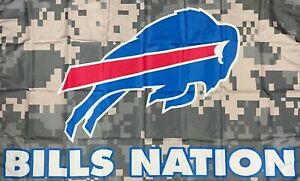 Buffalo Bills Nation Camo NFL Flag 3x5 ft Sports Banner Man-Cave Garage Bar Pub