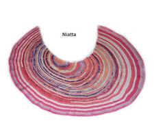 boho shawl pink rose blue crochet 100% cotton crescent scarf asymmetric handmade