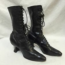 Antique Victorian Boots Womens Black Leather High Lace-Up Shoes Granny Steampunk