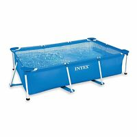 Intex 8.5ft x 26in Rectangular Frame Above Ground Backyard Swimming Pool, Blue