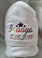 PERSONALISED BABY HOODED TOWEL + NAME - NEWBORN BABYSHOWER GIFT hospital bag